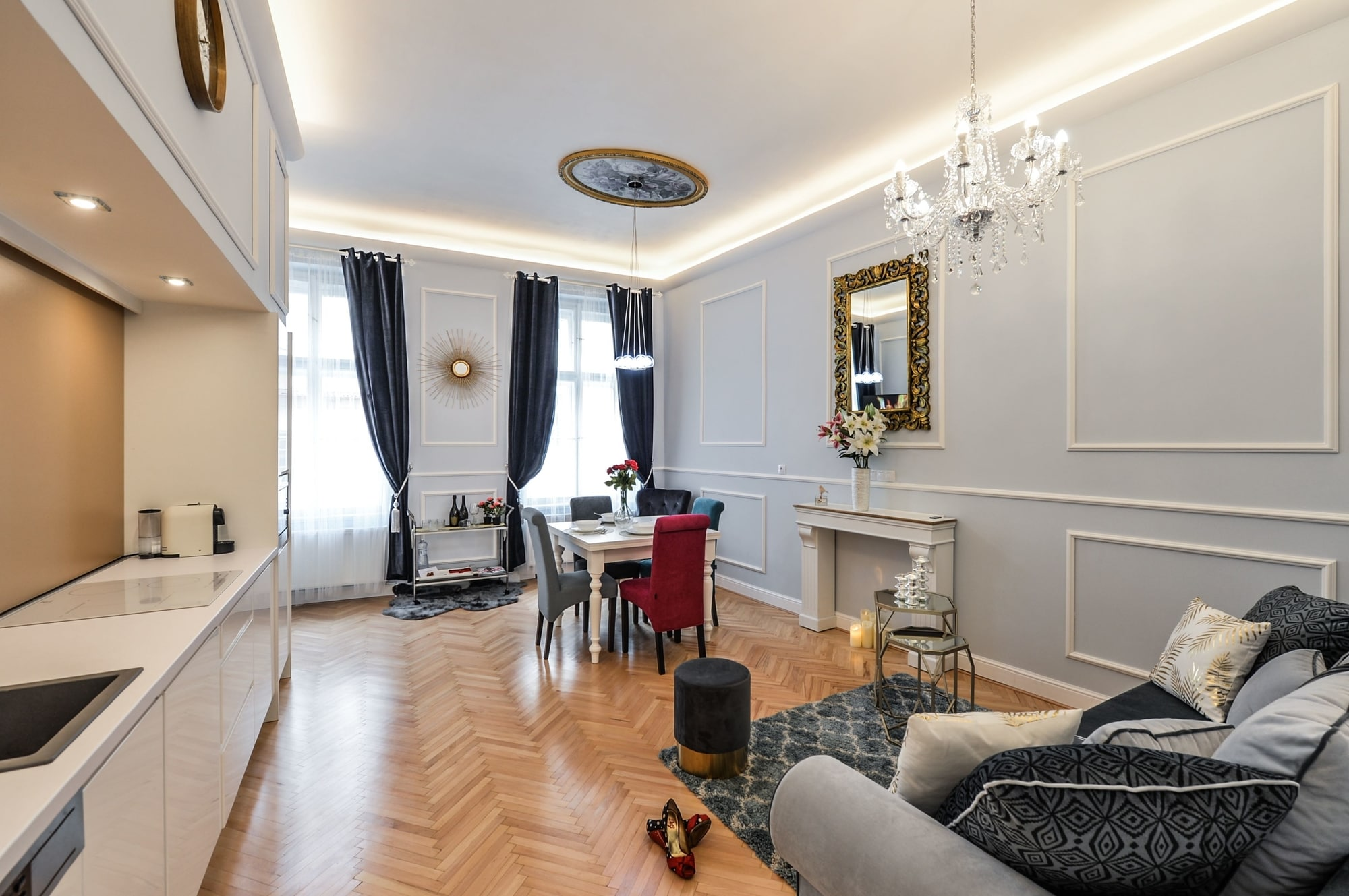 Serviced apartment Prague - living and dining area - wooden flooring