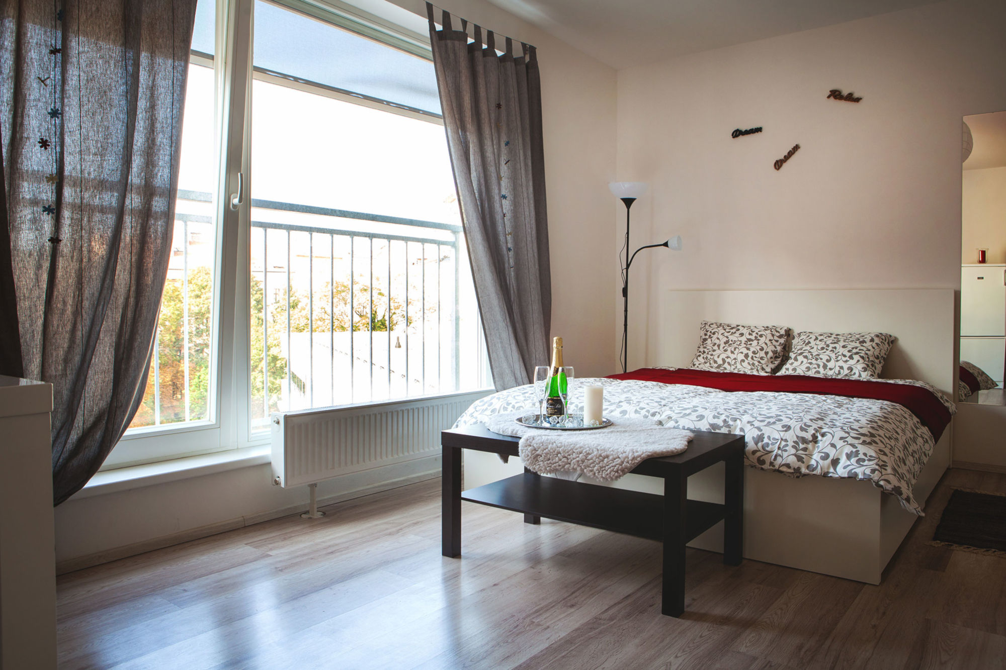 Spacious studio apartment Brno - bed