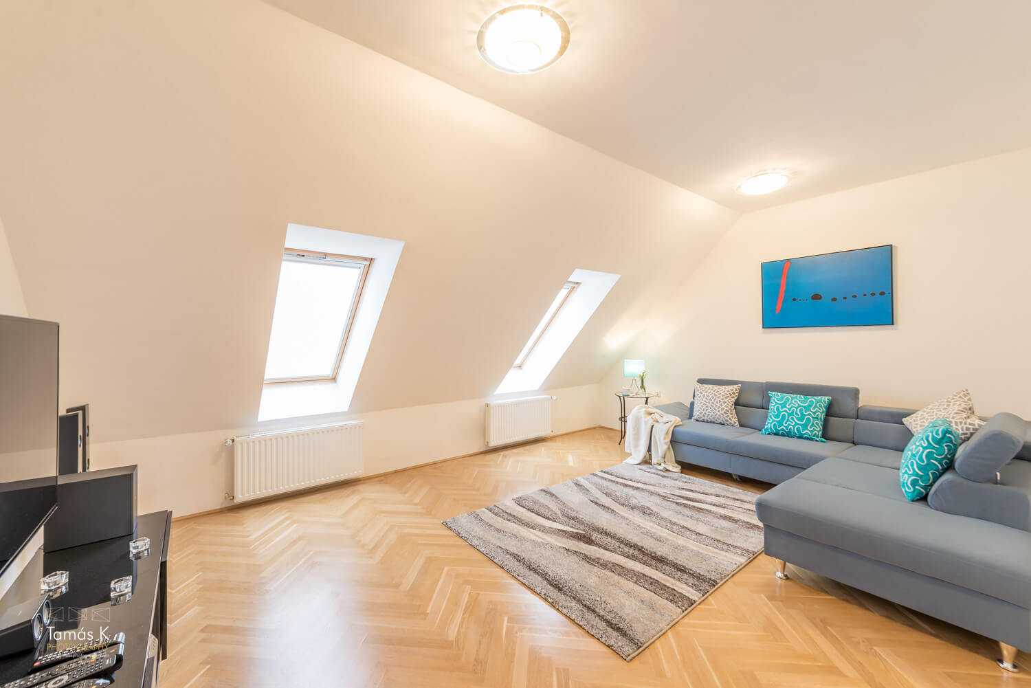 City center apartment Budapest - living area with large sofa bed - attic arrangement