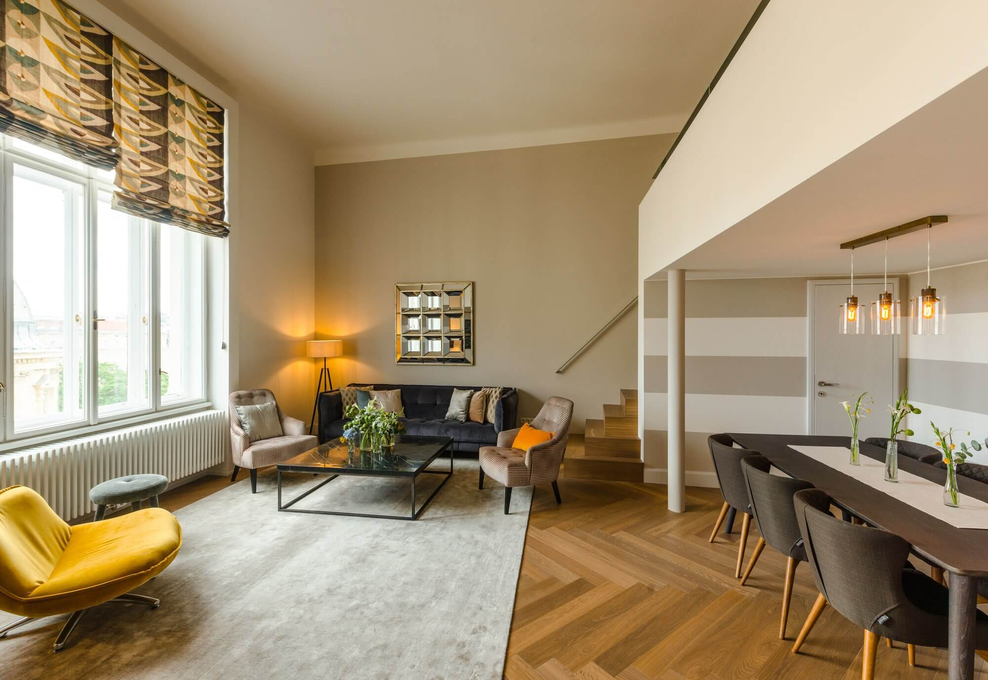 Vienna serviced apartment - living room two-storey