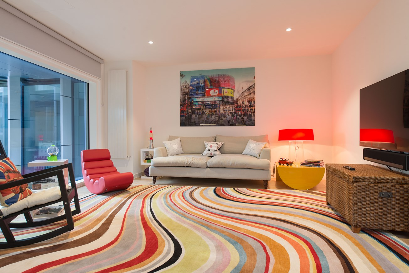 Bright two bedroom apartment London - eclectic decor in the living room