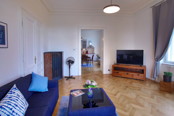 Prague, CZ Rustic style one bedroom apartment by the river bank w/ balcony